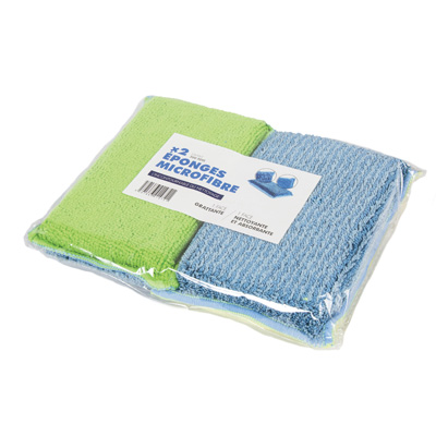 Éponge microfibre Eponge double face<br>Lot de 2